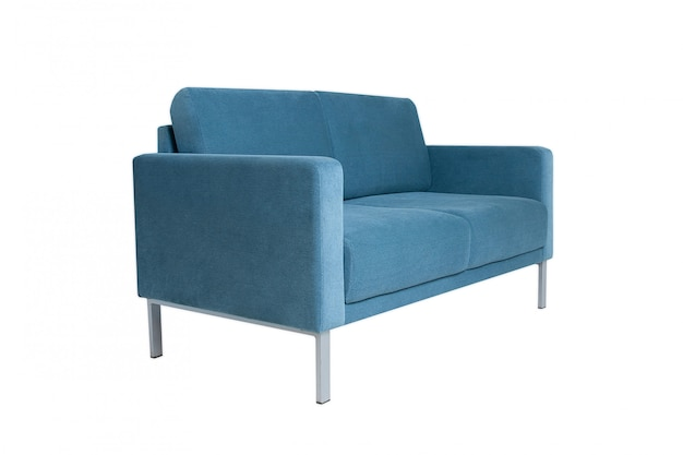 Sofá cinzento moderno da tela isolado no branco.