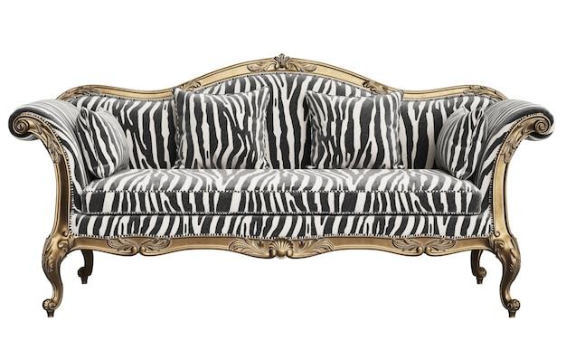Sofá clássico com detalhes esculpidos isolados no fundo branco