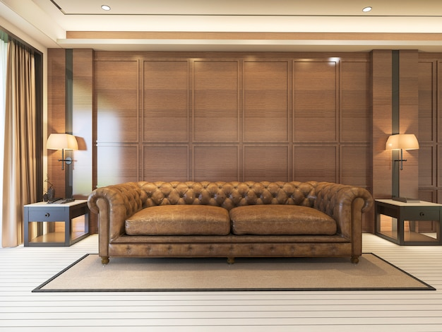 Sofá clássico de renderização 3d com decoração de luxo e mobiliário agradável