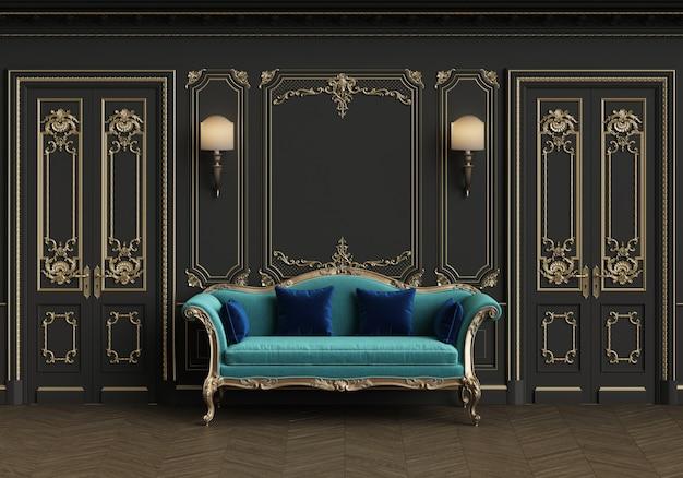 Sofá clássico no interior clássico com espaço de cópia