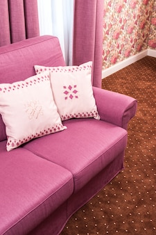 Sofá com dois travesseiros