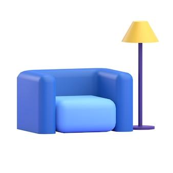 Sofá com lâmpada de pé 3d render