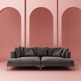 Sofá com parede em arco rosa