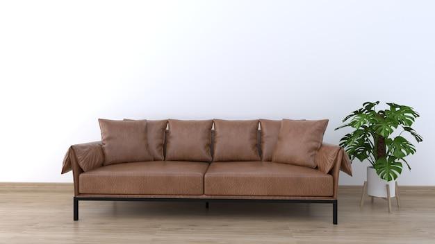 Sofá com piso de madeira e parede branca para design de plano de fundo