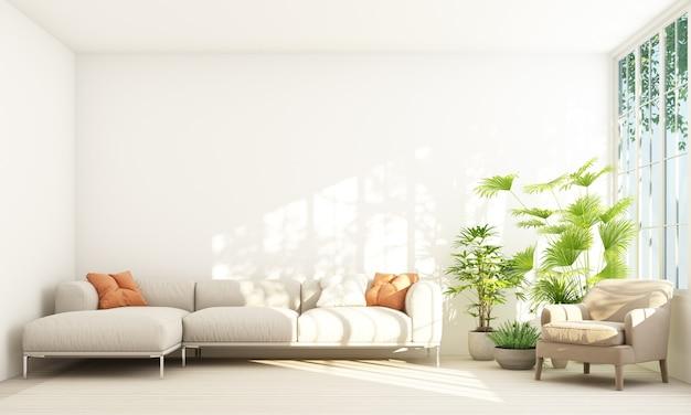 Sofá com vaso em sala branca e moldura de janela, renderização em 3d