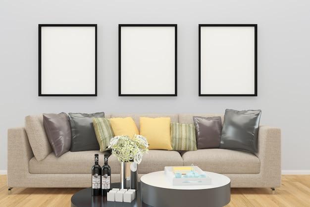 Sofá de cor bege decoração da parede cinza piso de madeira mesa de fundo interior sala de estar