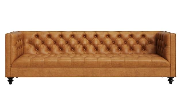 Sofá de couro laranja adornado vintage clássico isolado no fundo branco