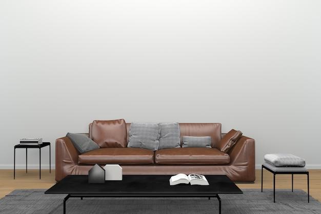 Sofá de couro marrom espelho preto tapete de mesa sala de estar interior 3d