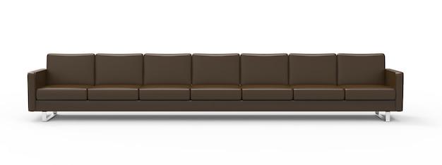 Sofá de couro marrom extremamente longo isolado no fundo branco renderização 3d