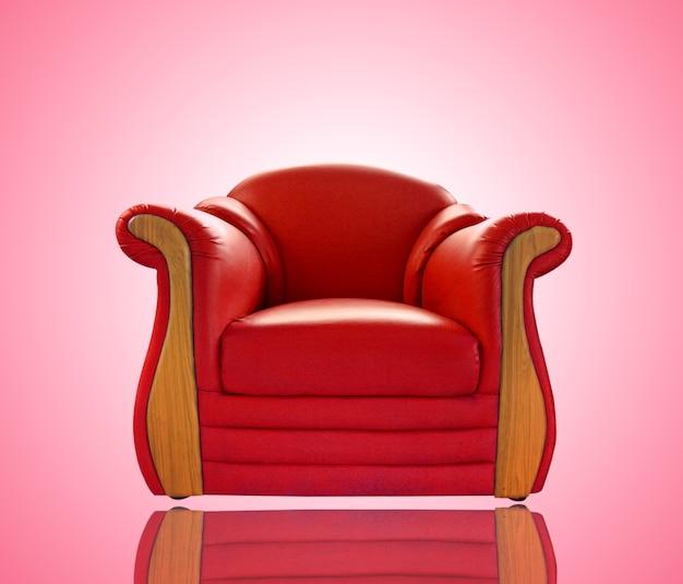 Sofá de couro vermelho velho