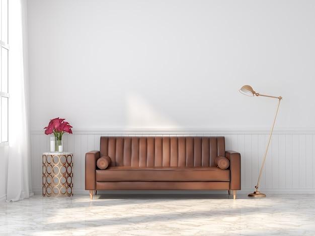 Sofá de couro vintage laranja-marrom em um quarto branco clássico 3d render com piso de mármore decore a mesa e a luminária douradas há uma grande janela de luz do sol entrando na sala.