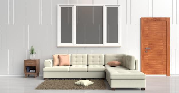 Sofá de creme de decoração de quarto branco, laranja travesseiros, livro, porta de madeira, tapete, parede é padrão. 3d r