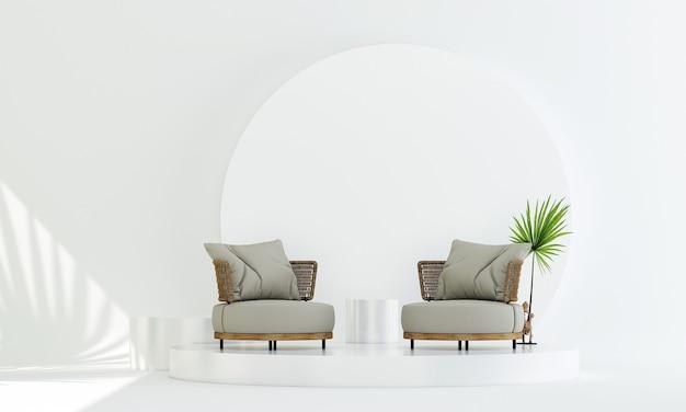 Sofá de madeira em expositor cosmético de pódio com fundo de parede branca renderização em 3d