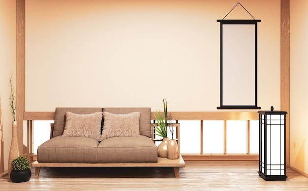 Sofá de madeira na sala com decoração