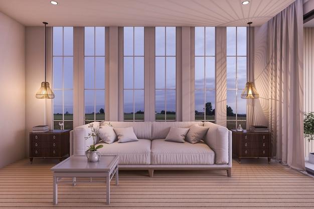 Sofá de renderização 3d branca na bela sala de estar perto do mar na cena do crepúsculo