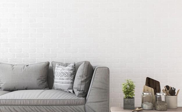 Sofá de renderização 3d mínima perto da parede de tijolo e decoração