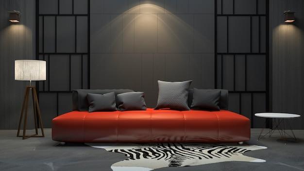 Sofá de renderização 3d vermelho no quarto escuro