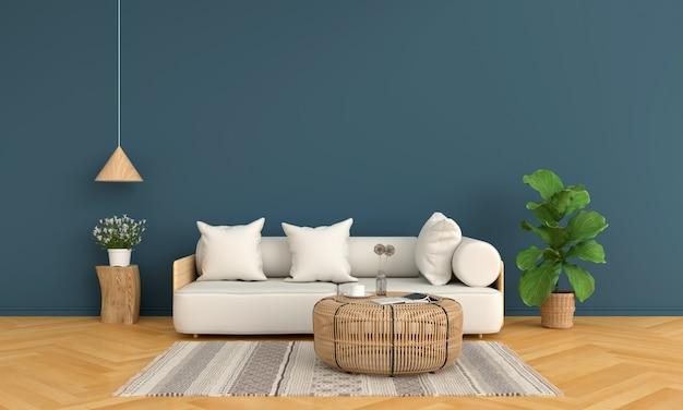 Sofá e madeira mesa redonda na sala de estar azul