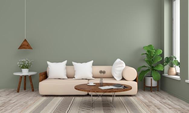 Sofá e madeira mesa redonda na sala verde, renderização em 3d