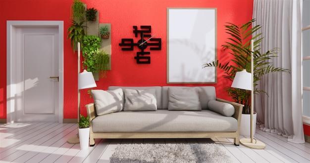 Sofá e moldura em coral estilo zen sala de estar