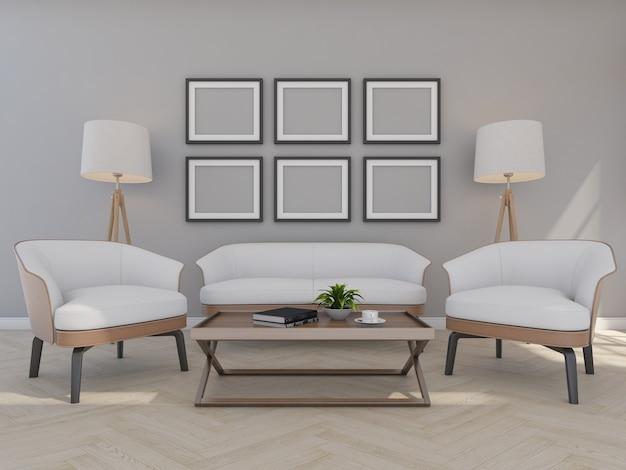 Sofá e poltrona em sala cinza com moldura, renderização em 3d