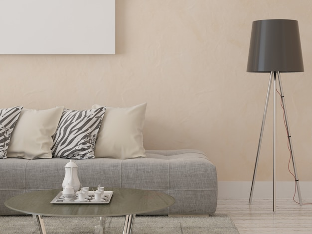 Sofá elegante em um fundo de gesso decorativo