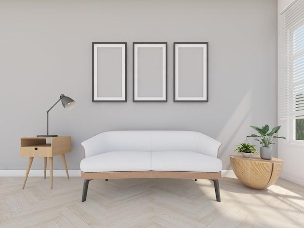 Sofá em sala cinza com moldura e lâmpada de leitura, renderização em 3d