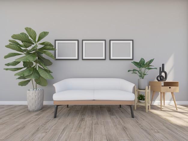 Sofá em sala cinza com moldura e pequenas árvores, renderização em 3d