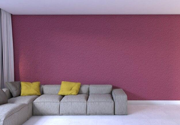 Sofá em uma sala de parede rosa vazia