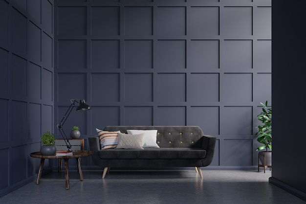 Sofá escuro, contra, escuro azul, parede, com, gabinete, tabela, lâmpada, livro, ligado, parede escura