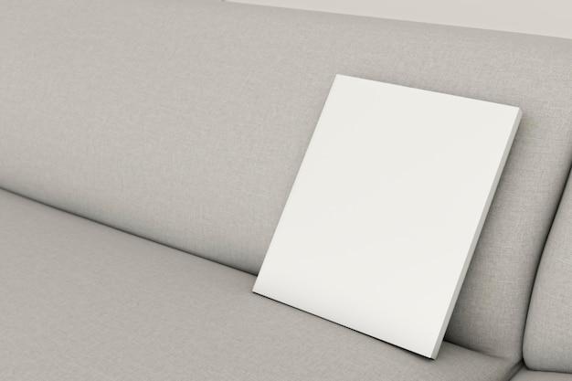 Sofá interior minimalista de close-up com moldura