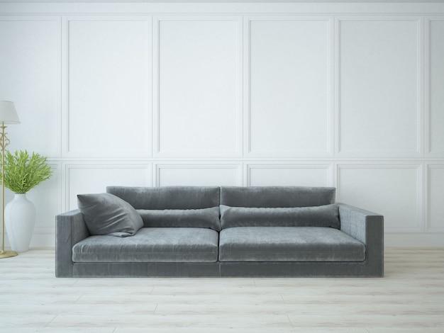 Sofá longo cinza em quarto elegante