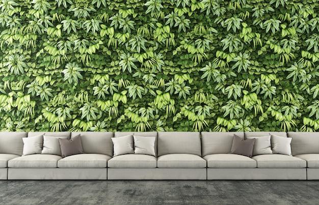Sofá longo com fundo vertical do jardim