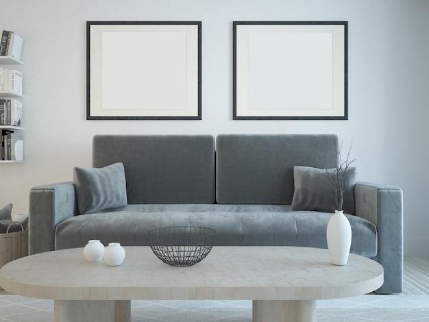 Sofá mesa de centro e fotos na parede