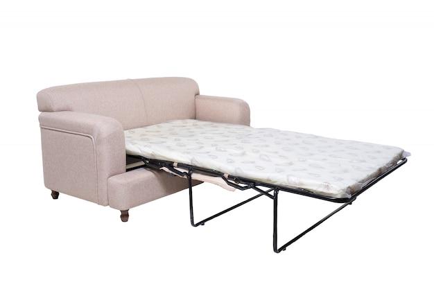 Sofá moderno de tecido cinza com colchão estendido para dormir isolado no branco