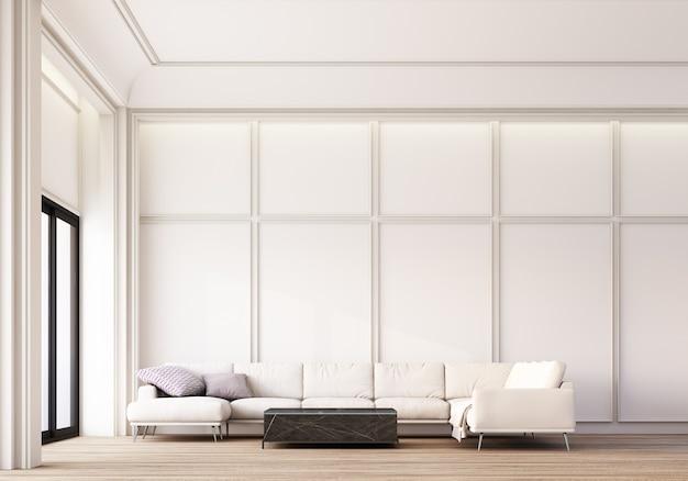 Sofá moderno e clássico da área de estar branca e mesa de centro com decoração de painéis de parede e piso de madeira. renderização 3d