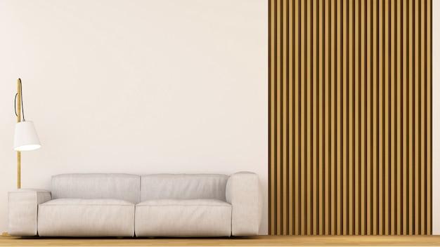 Sofá na sala de decoração de madeira - renderização em 3d