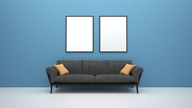 Sofá na sala de estar com cartazes na parede
