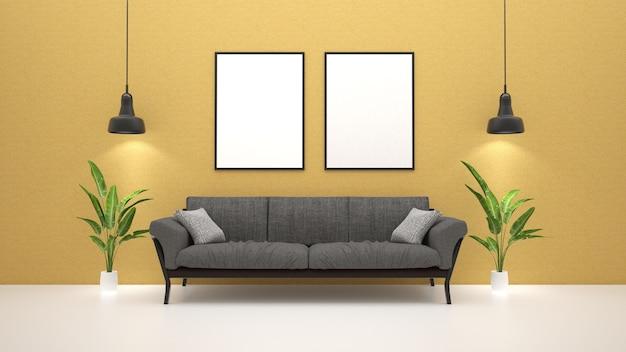 Sofá na sala de estar com planta verde e cartazes na parede