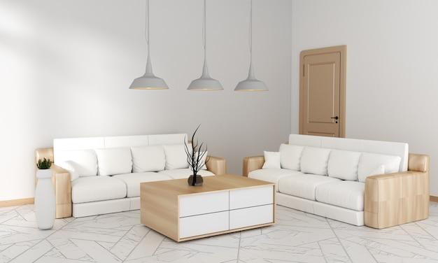Sofá na sala de estar para mock up estilo moderno japonês, renderização em 3d