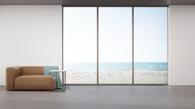 Sofá no piso de concreto da grande sala de estar em casa moderna ou hotel de luxo.