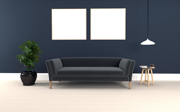 Sofá preto 3d renderizado da sala moderna interior com sofá e mesa realista