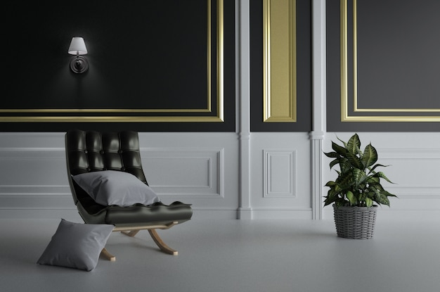 Sofá preto e travesseiro duplo, plantas em fundo de parede de ouro preto vazio. renderização 3d