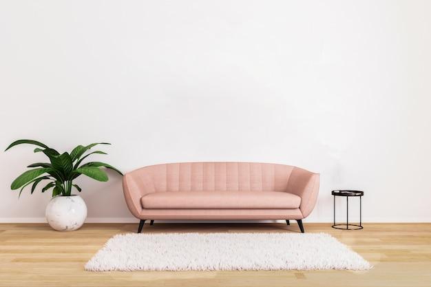 Sofá rosa com mesa de café preta e planta na luminosa sala de estar com parede branca e piso de madeira
