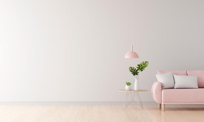 Sofá rosa na sala de estar branca com espaço de cópia