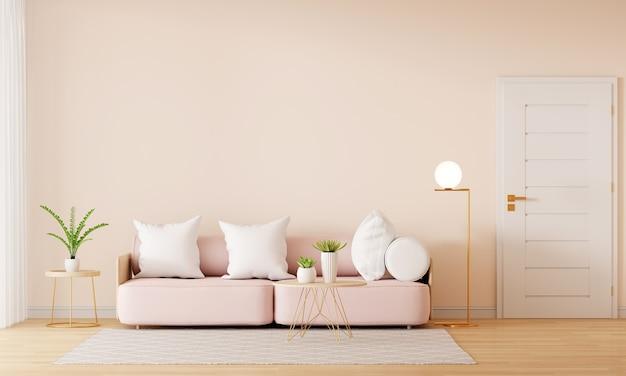 Sofá rosa no interior marrom da sala de estar com espaço de cópia