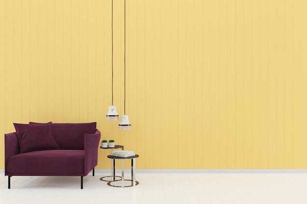 Sofá roxo amarelo parede pastel branco piso de madeira modelo de textura de fundo