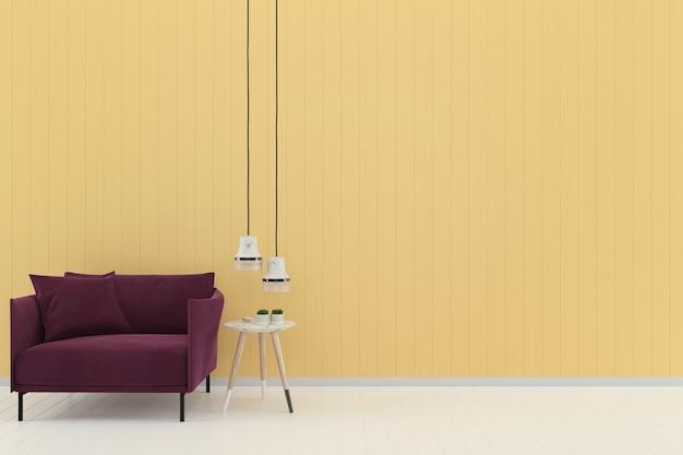 Sofá roxo amarelo pastel parede branco piso de madeira fundo textura modelo lâmpada