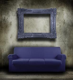 Sofá velho no fundo do grunge