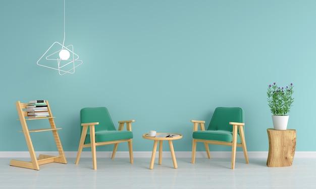 Sofá verde na sala de estar para maquete